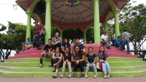 One of the groups at Parque Morazán during the city tour.