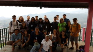 The delegation at the top of the tower at El Calvario Hill.