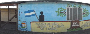 Mural on the school in Sor Maria that the previous delegation created