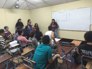 Jennifer leading a lesson in the beginner English class with her fellow Glimpsers/teachers.