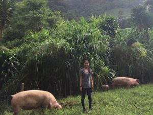 Bernice gets up close and personal with some of Bastilla's pigs!