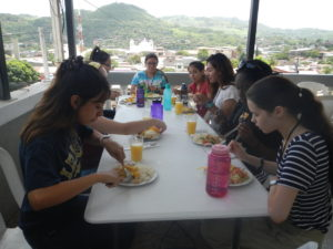 For most of our meals, we enjoy them on the beautiful balcony of El Castillo (or hostel)