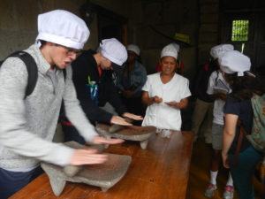 We all got to try grinding chocolate the old fashion way.
