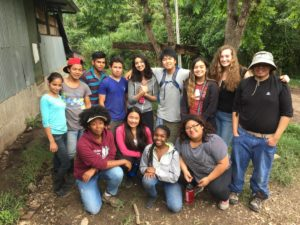 One of our groups posing with Bastilla students who work at the chicken coop