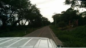 """Our view from the hooded trucks that took us to """"Cerro Negro"""""""