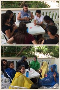 Playing cards... before and during the rain storm