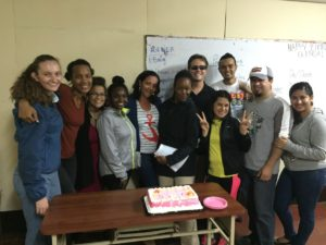 The intermediate class celebrated a student's birthday on the final day of tutoring. Happy birthday, Glenda!